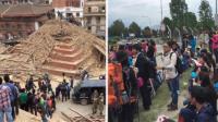 中国游客拍震后尼泊尔废墟