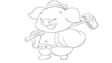 《西游記》中可愛q版動漫豬八戒卡通簡筆畫教程視頻